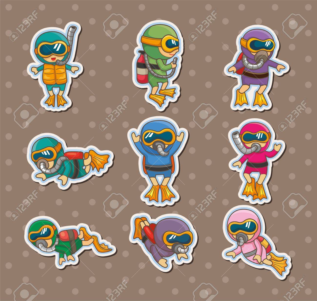 diver stickers Stock Vector - 14958154