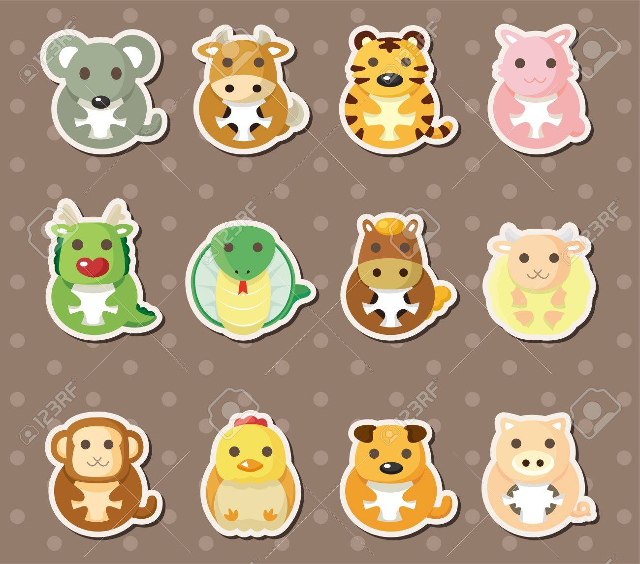 12 Chinese Zodiac animal stickers Stock Vector - 15015823