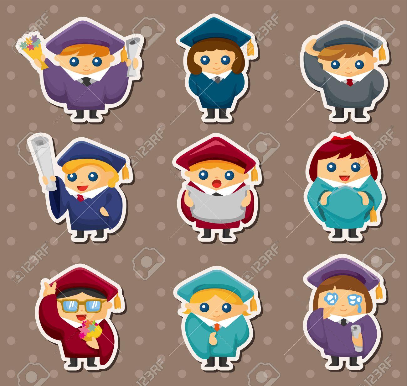 Cartoon Graduate students stickers Stock Vector - 15015821