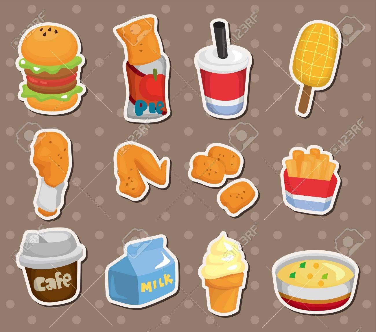 Fast food stickers stock vector 15178830