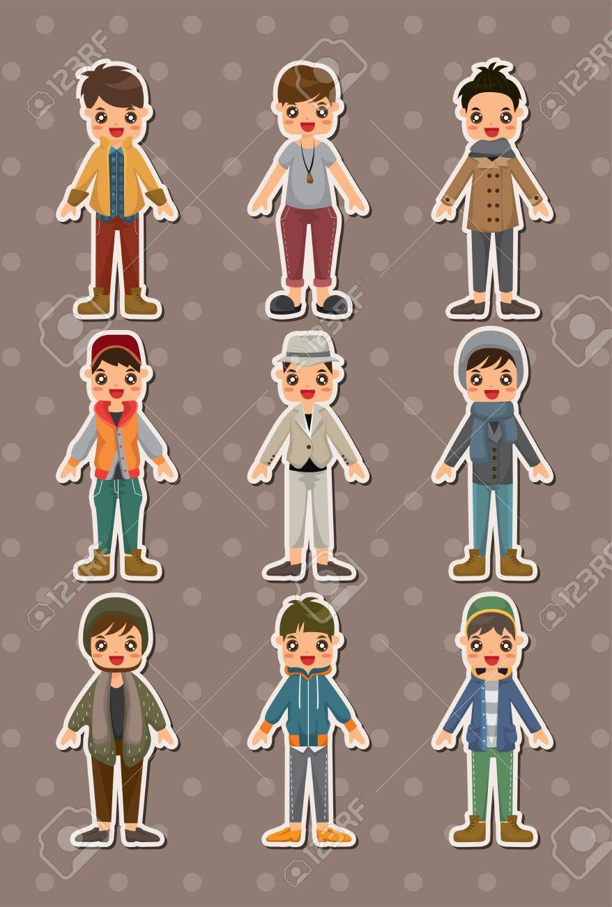 cartoon charming young man stickers Stock Vector - 15178895