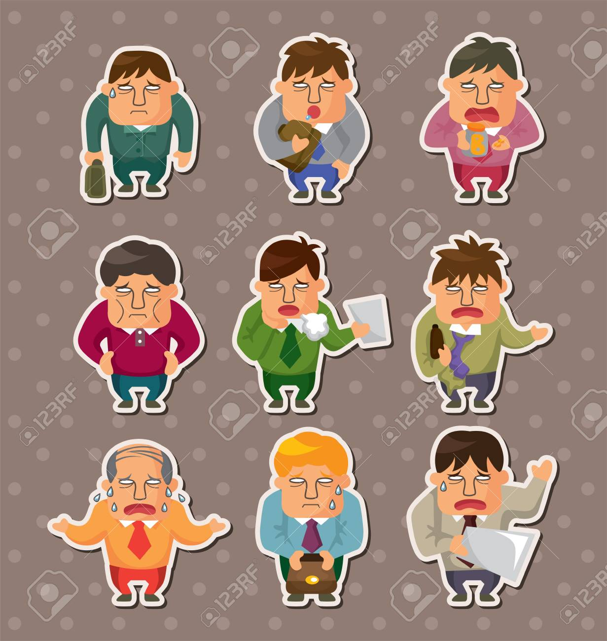 Tired businessman stickers Stock Vector - 15178871