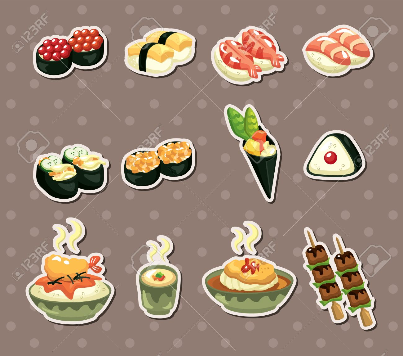 Japanese food stickers stock vector 15178862