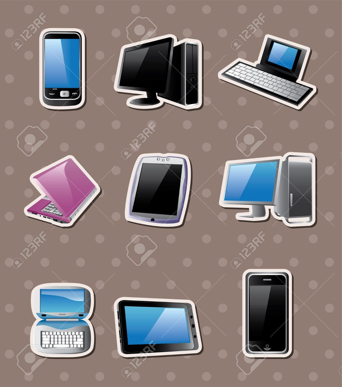 cartoon computer  stickers Stock Vector - 15280114