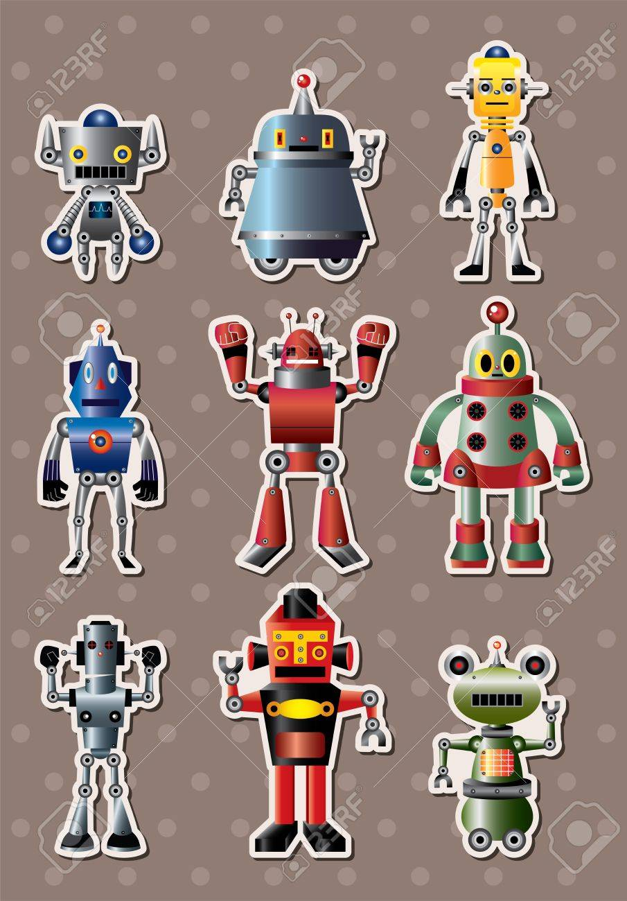 cartoon robot sticers Stock Vector - 15325009