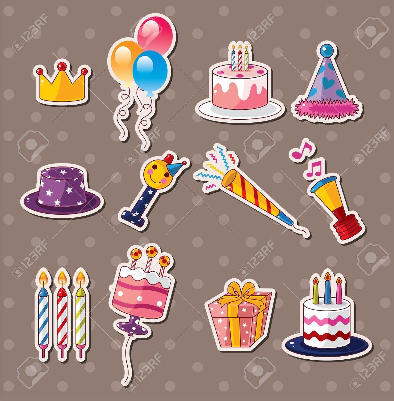 Birthday stickers stock vector 15325008