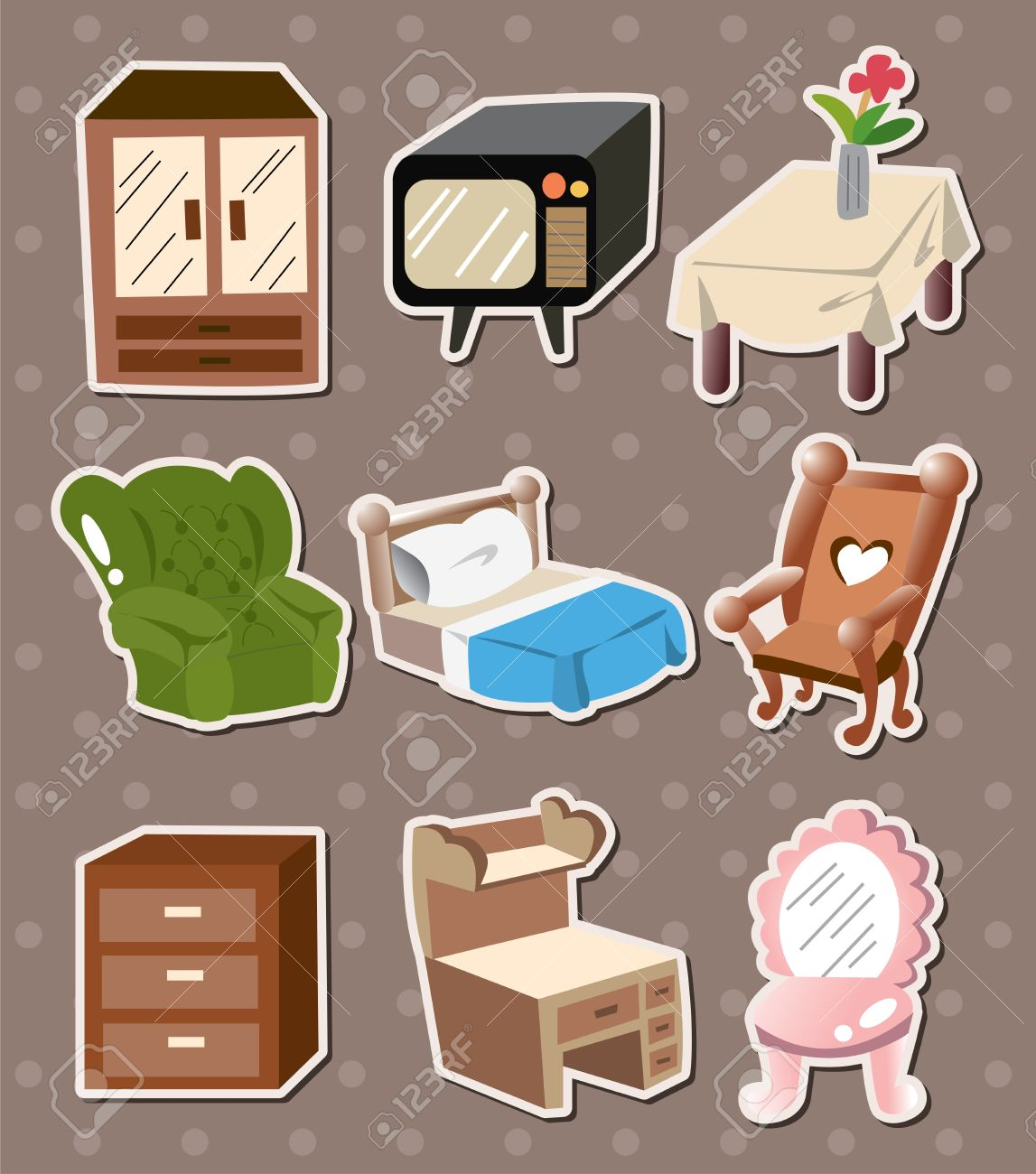 Home Furniture Stickers Royalty Free Cliparts Vectors And Stock  # Muebles De Tualet