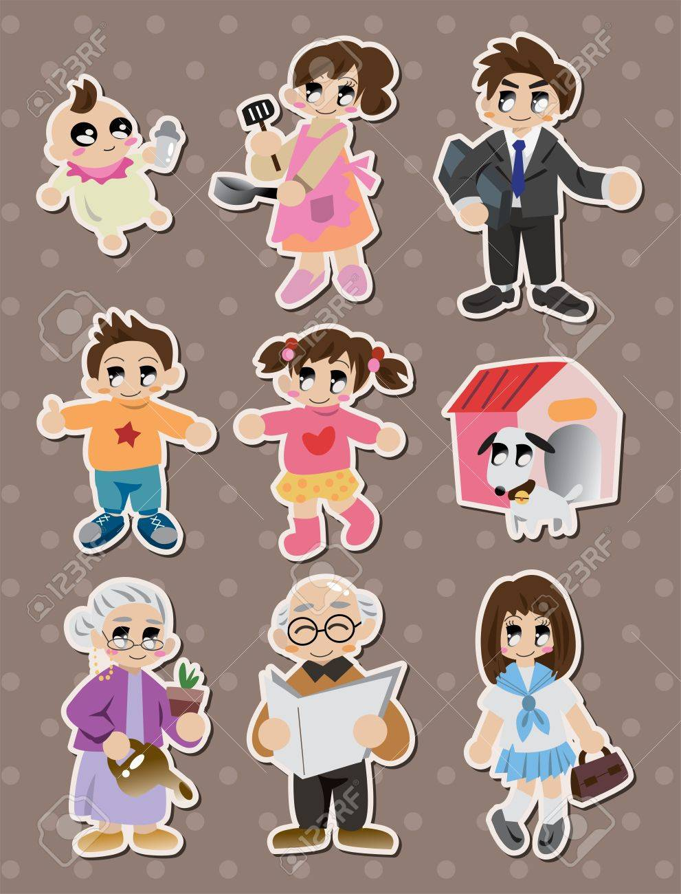 Cartoon family stickerslabel stock vector 15387006