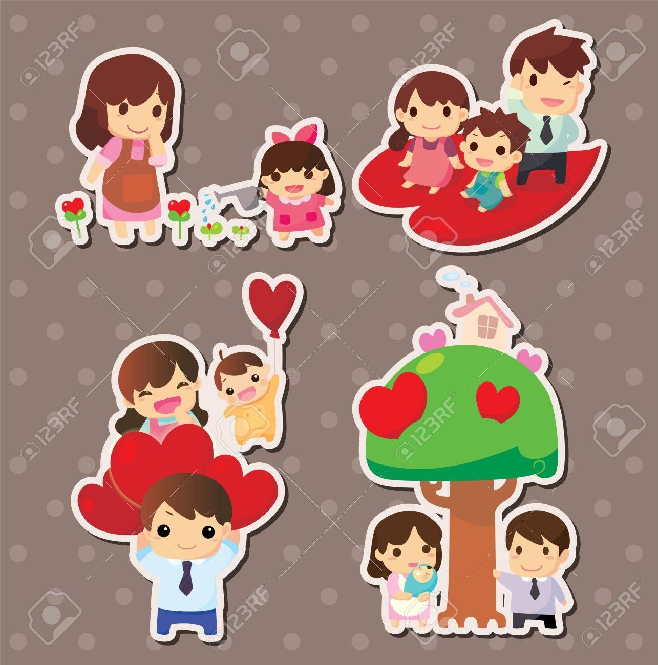 Cartoon family stickers stock vector 15771607