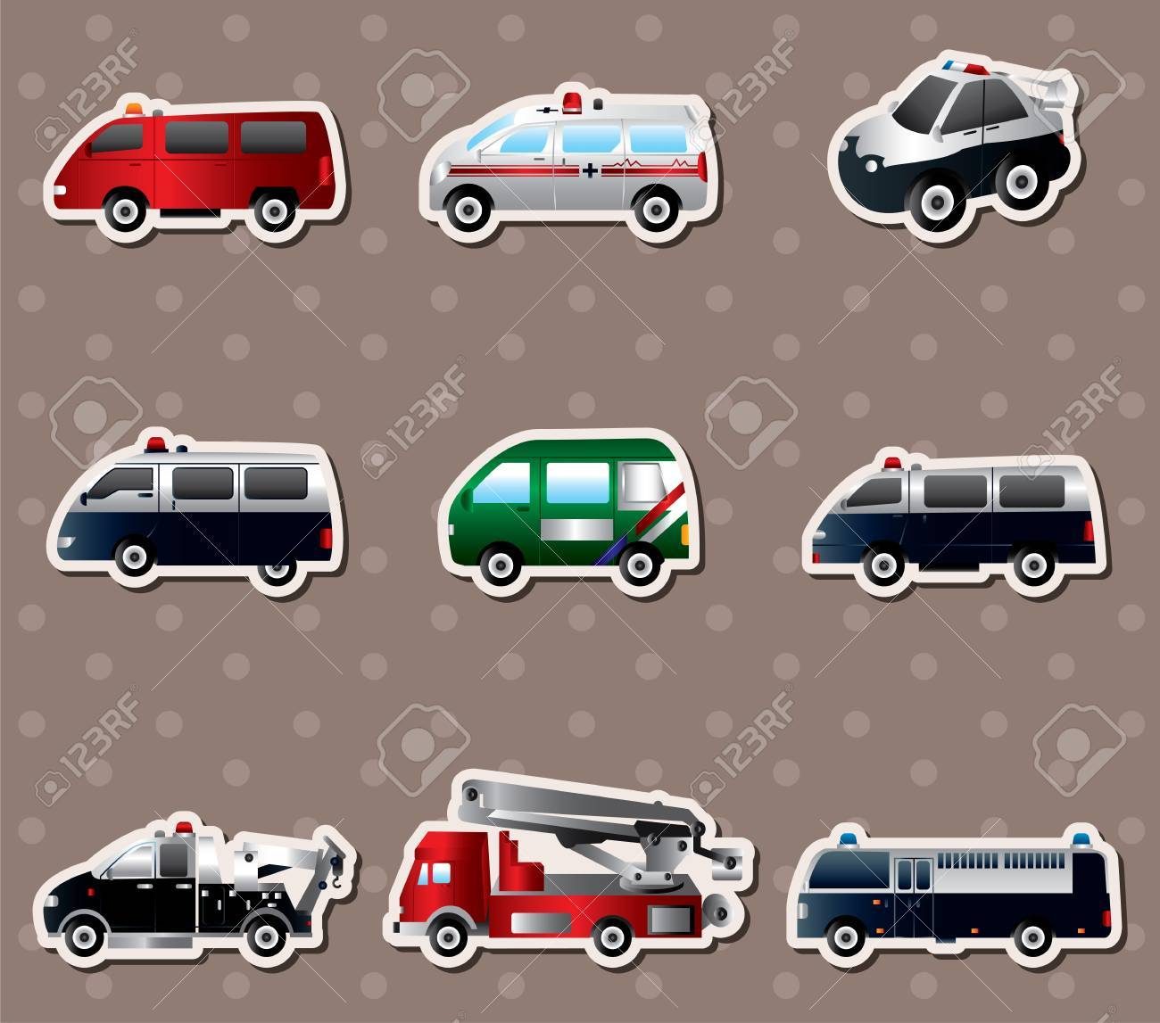 Vector vector illustration of different types car stickers