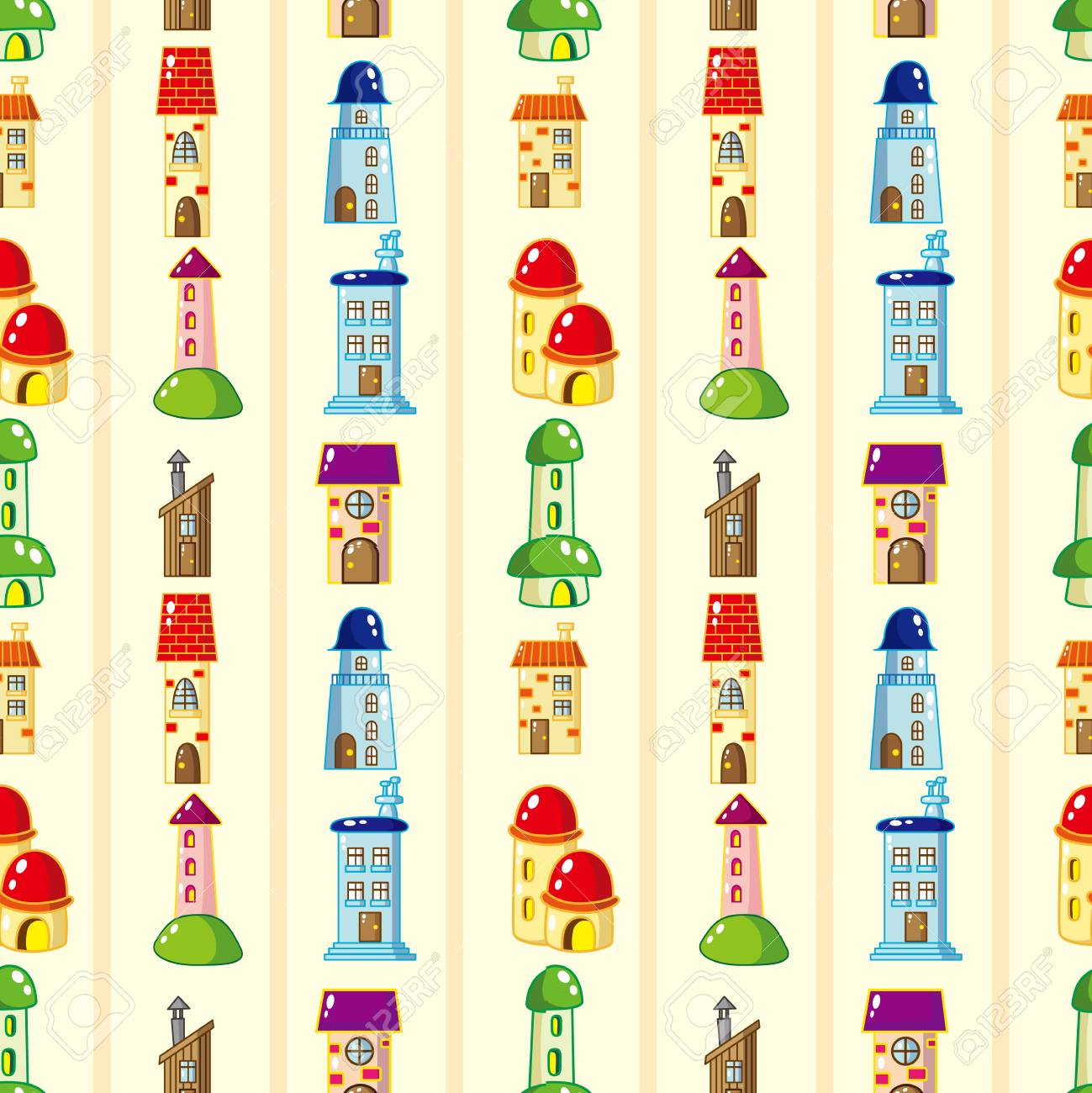 seamless house pattern Stock Vector - 16320631