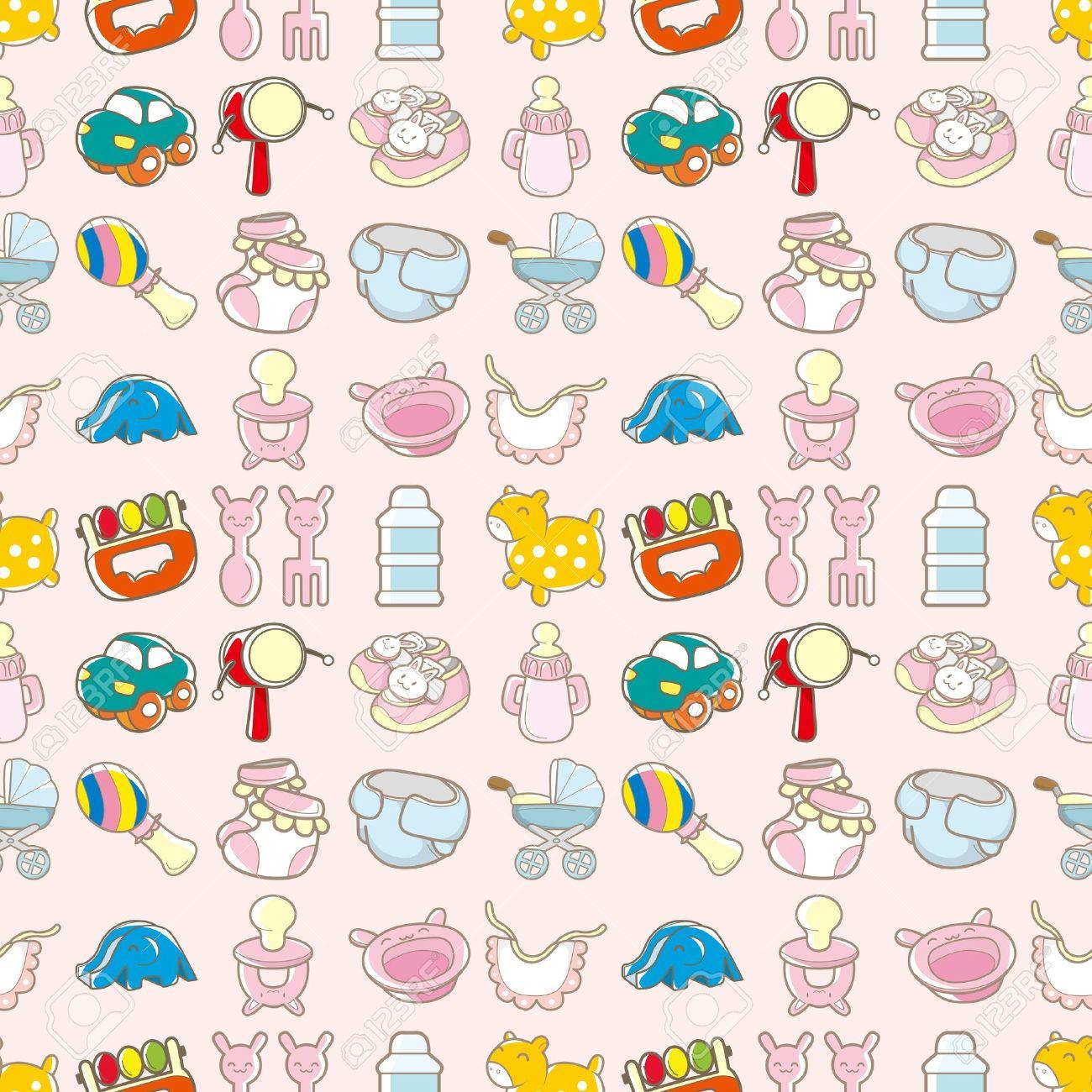 seamless baby toy pattern,cartoon vector illustration Stock Vector - 16673406
