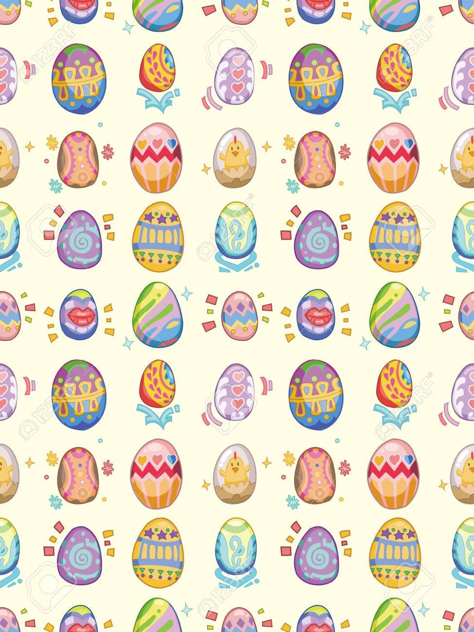 Seamless Easter Egg Patterncartoon Illustration Royalty Free