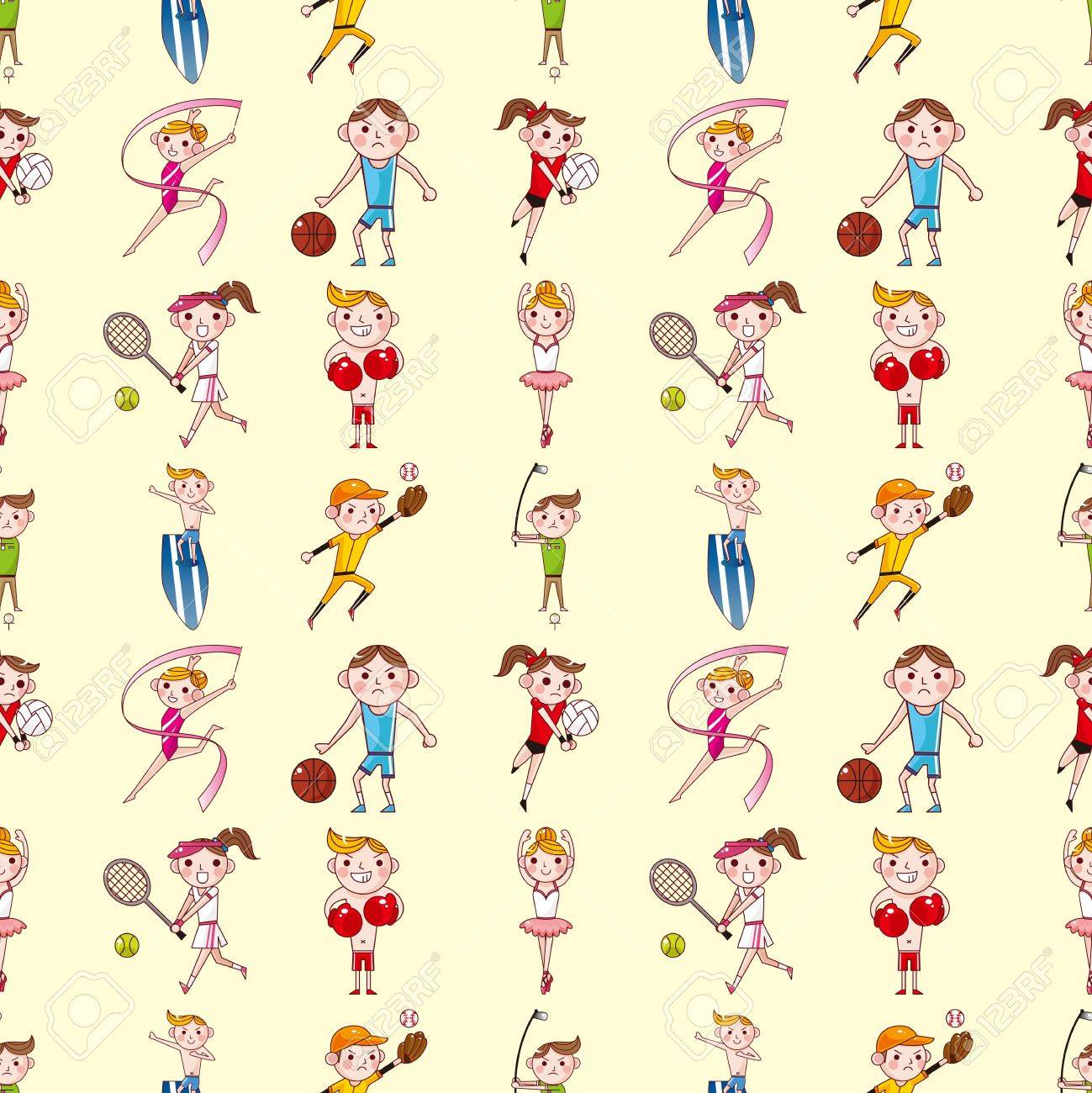 seamless sport player pattern,cartoon vector illustration Stock Vector - 16925739