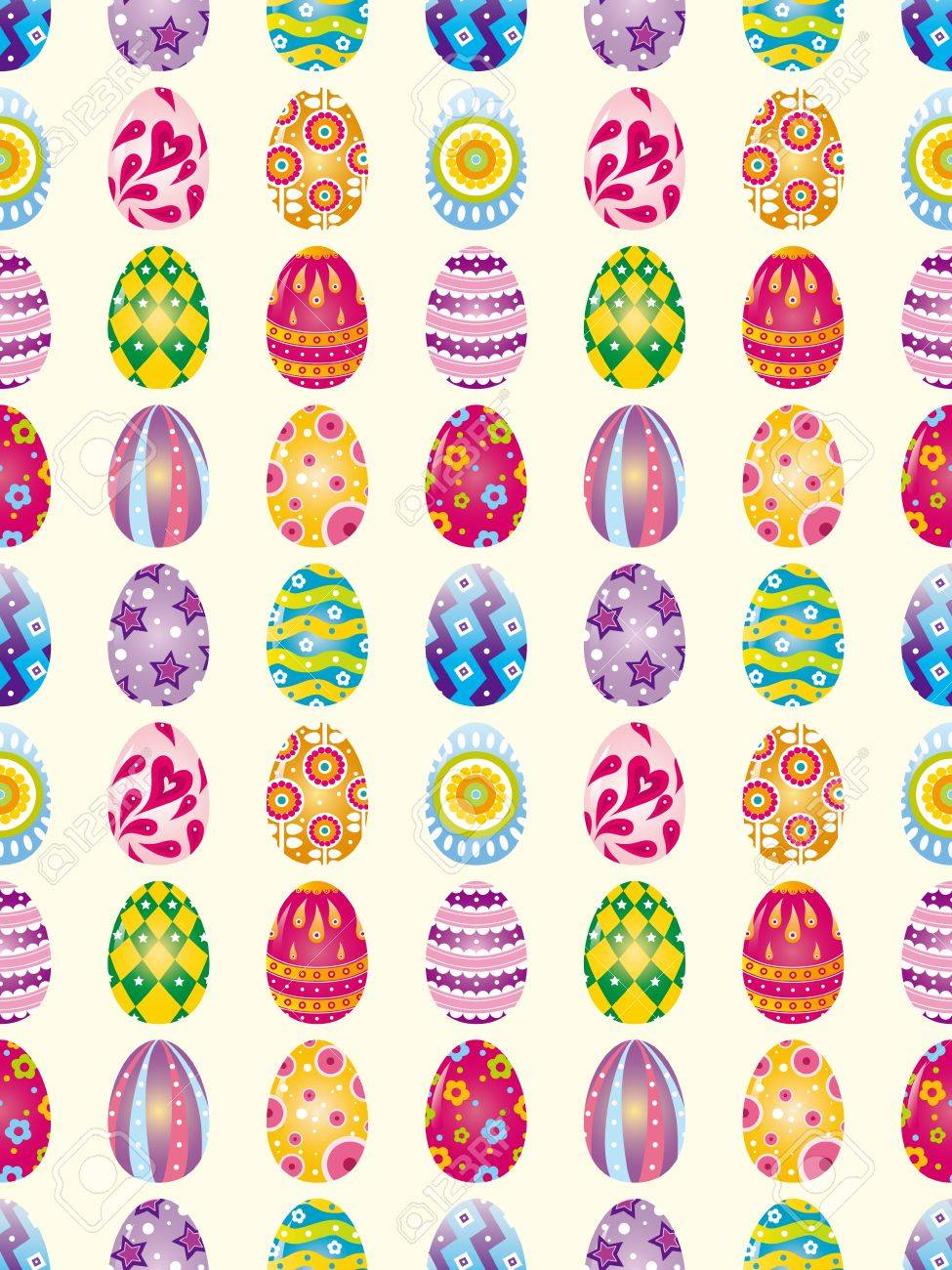 seamless easter egg pattern cartoon vector illustration royalty free