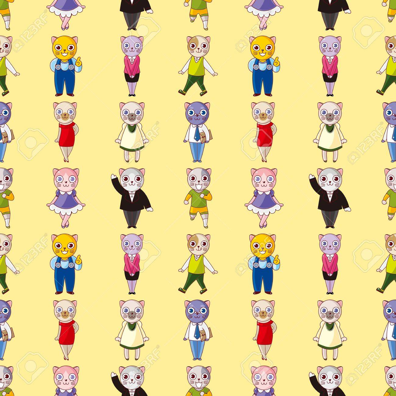 cartoon cat family seamless pattern,cartoon vector illustration Stock Vector - 17212433
