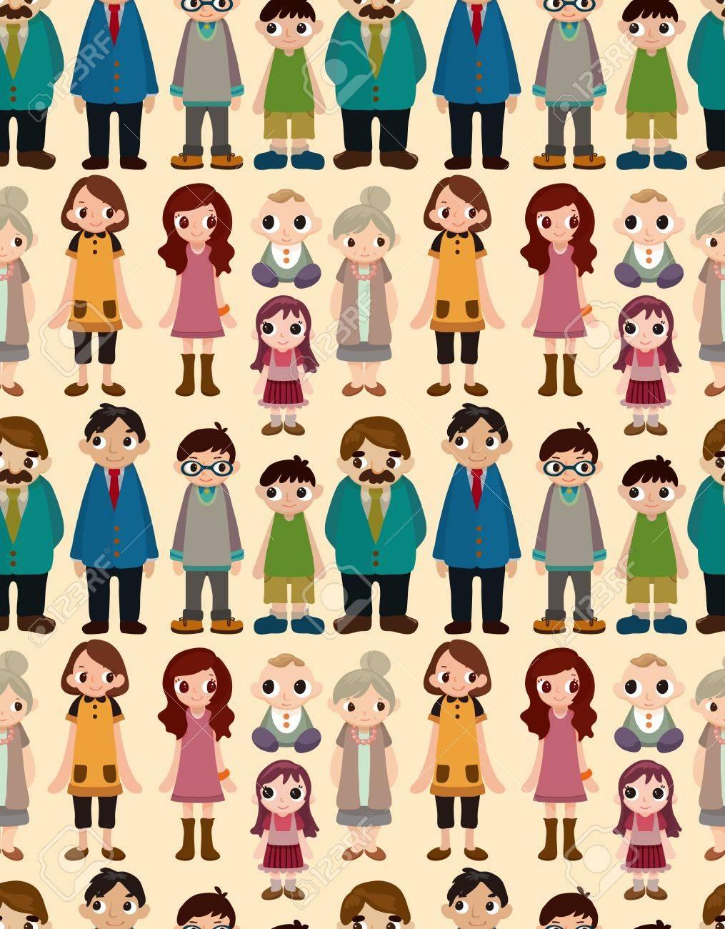 seamless family pattern,cartoon illustration Stock Vector - 17432911