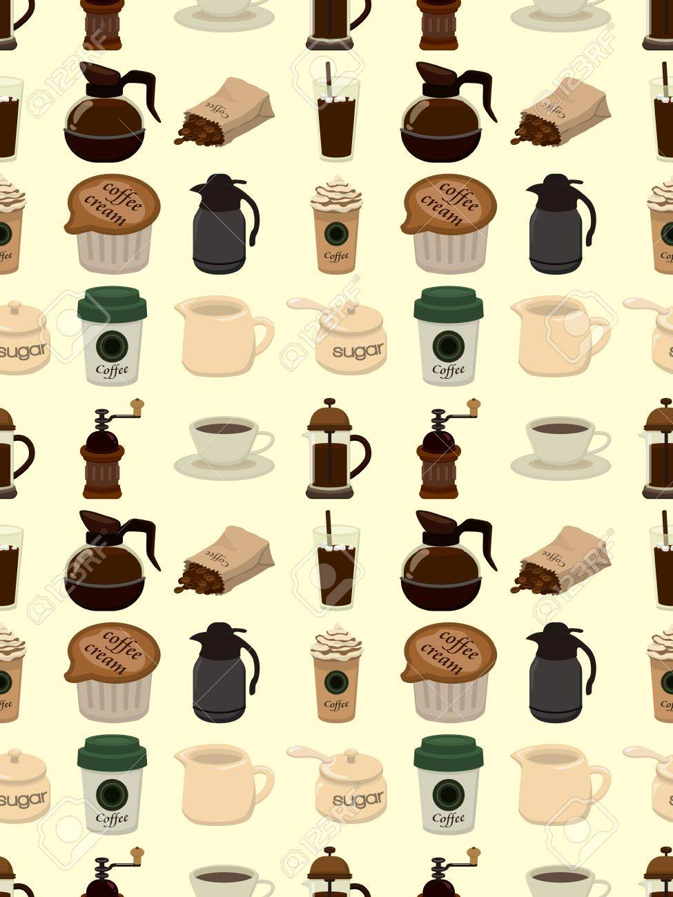 seamless coffee pattern,cartoon illustration Stock Vector - 17560159
