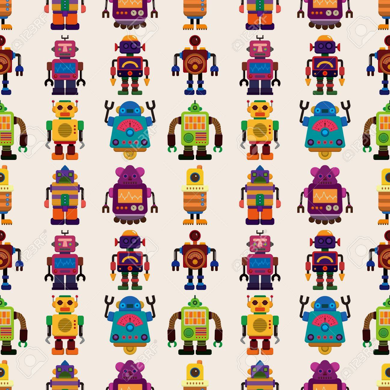 seamless Robot pattern,cartoon illustration Stock Vector - 17560161
