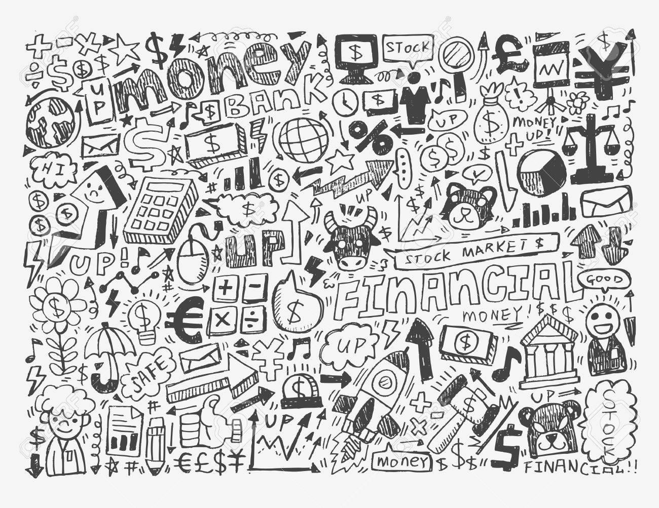 doodle Finance pattern Stock Vector - 20074046