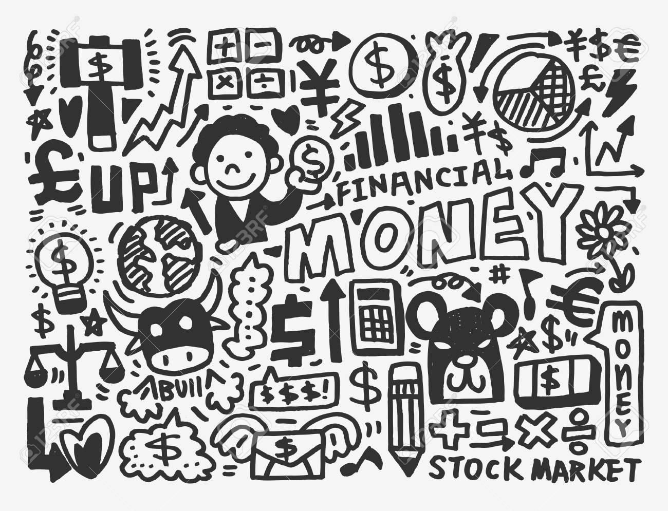 doodle Finance pattern Stock Vector - 20298643
