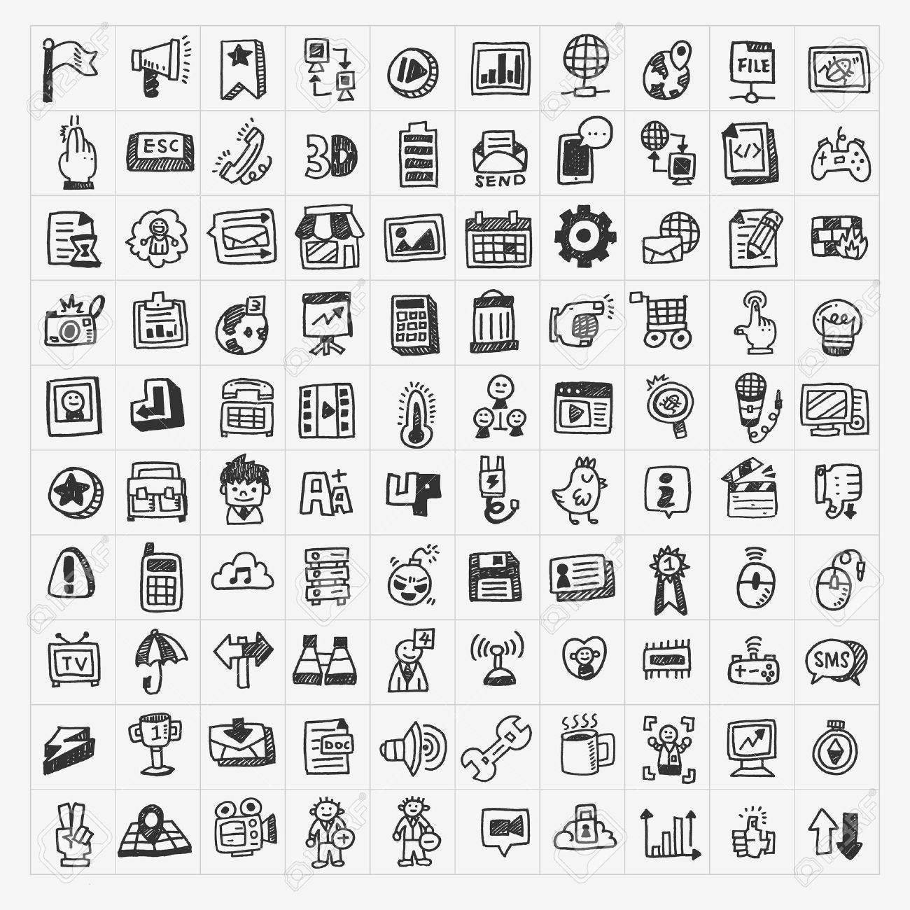 100 doodle web icons set Stock Vector - 20513314