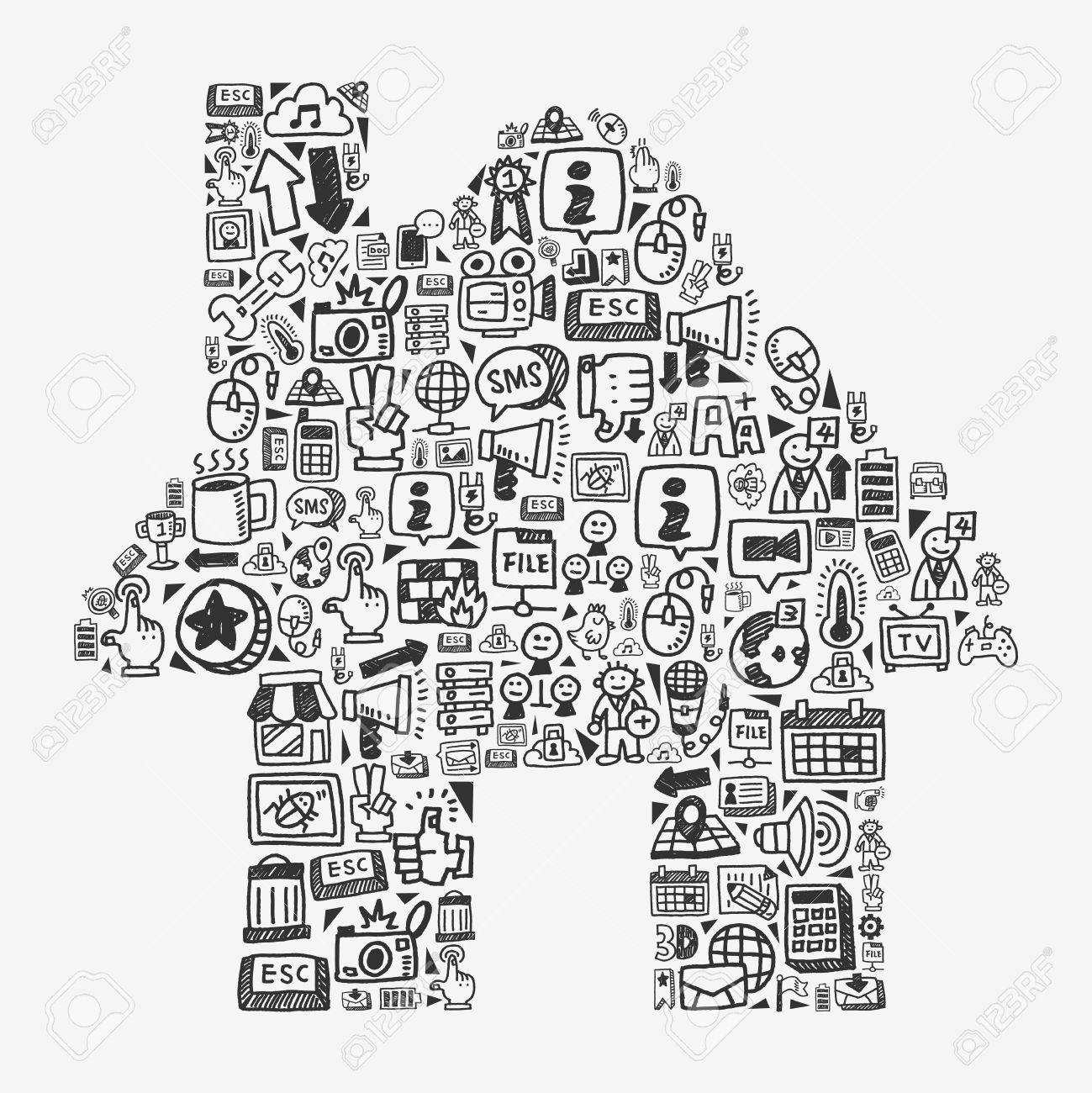 doodle pattern - web house Stock Vector - 20782648