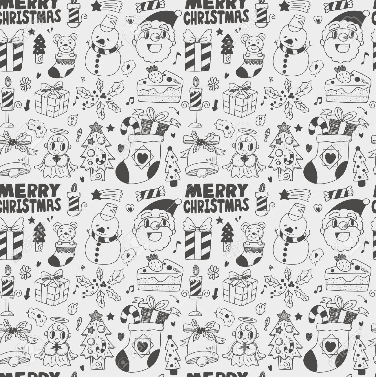 Seamless Doodle Christmas pattern Stock Vector - 22772332