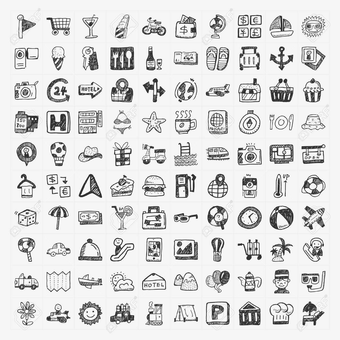 doodle travel icons set - 24391385