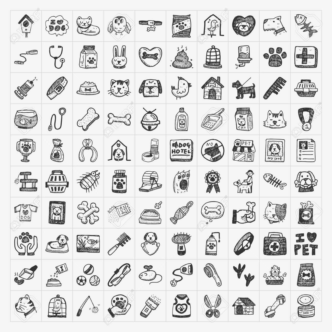 doodle pet icons set - 26078303
