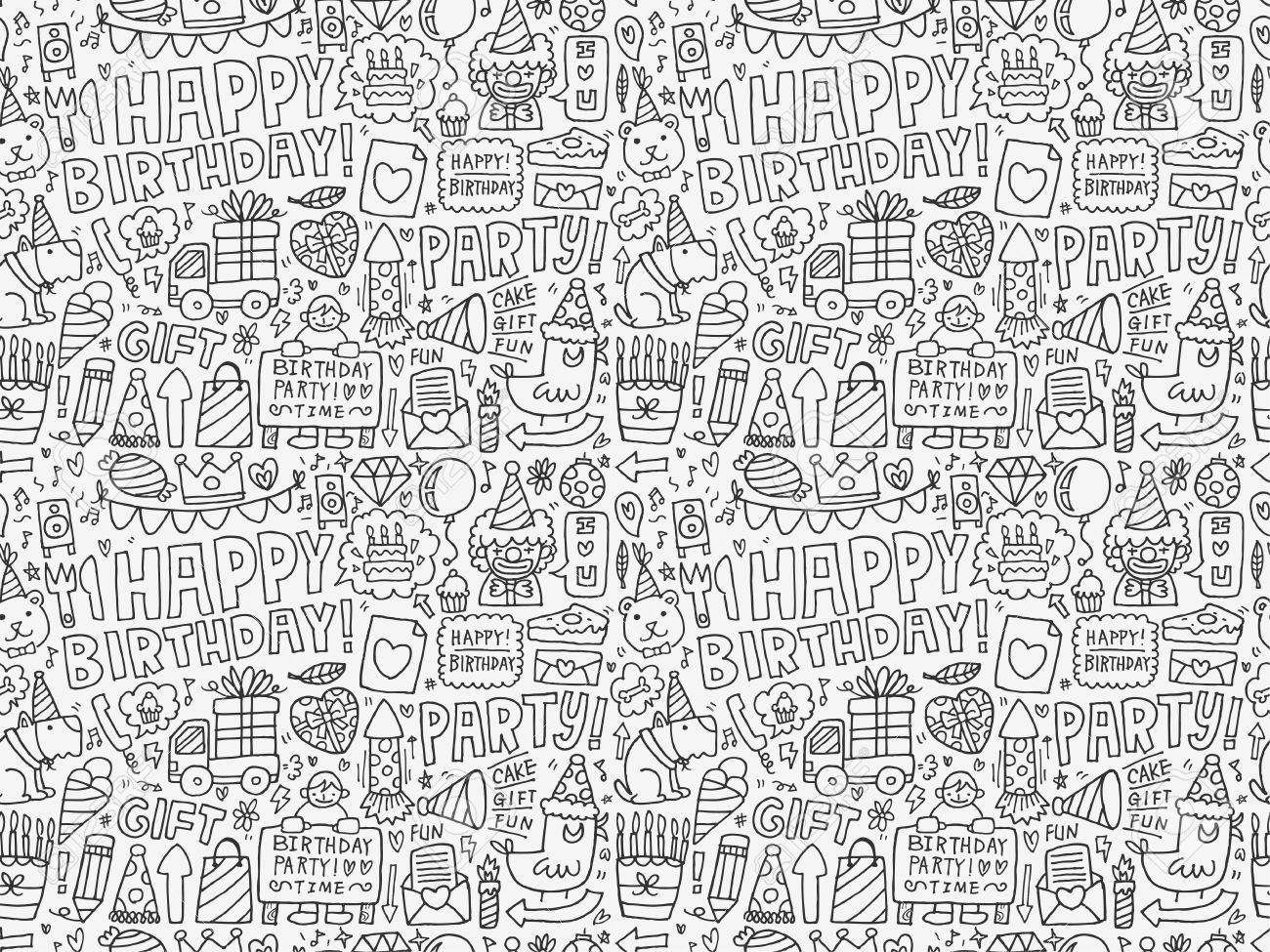 Seamless Doodle Birthday party pattern background - 28522909