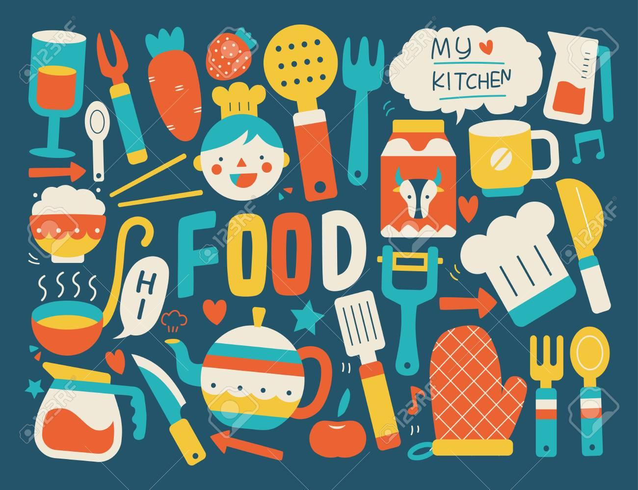 Kochen Und Küche | Kochen Und Kuche Hintergrund Lizenzfrei Nutzbare Vektorgrafiken