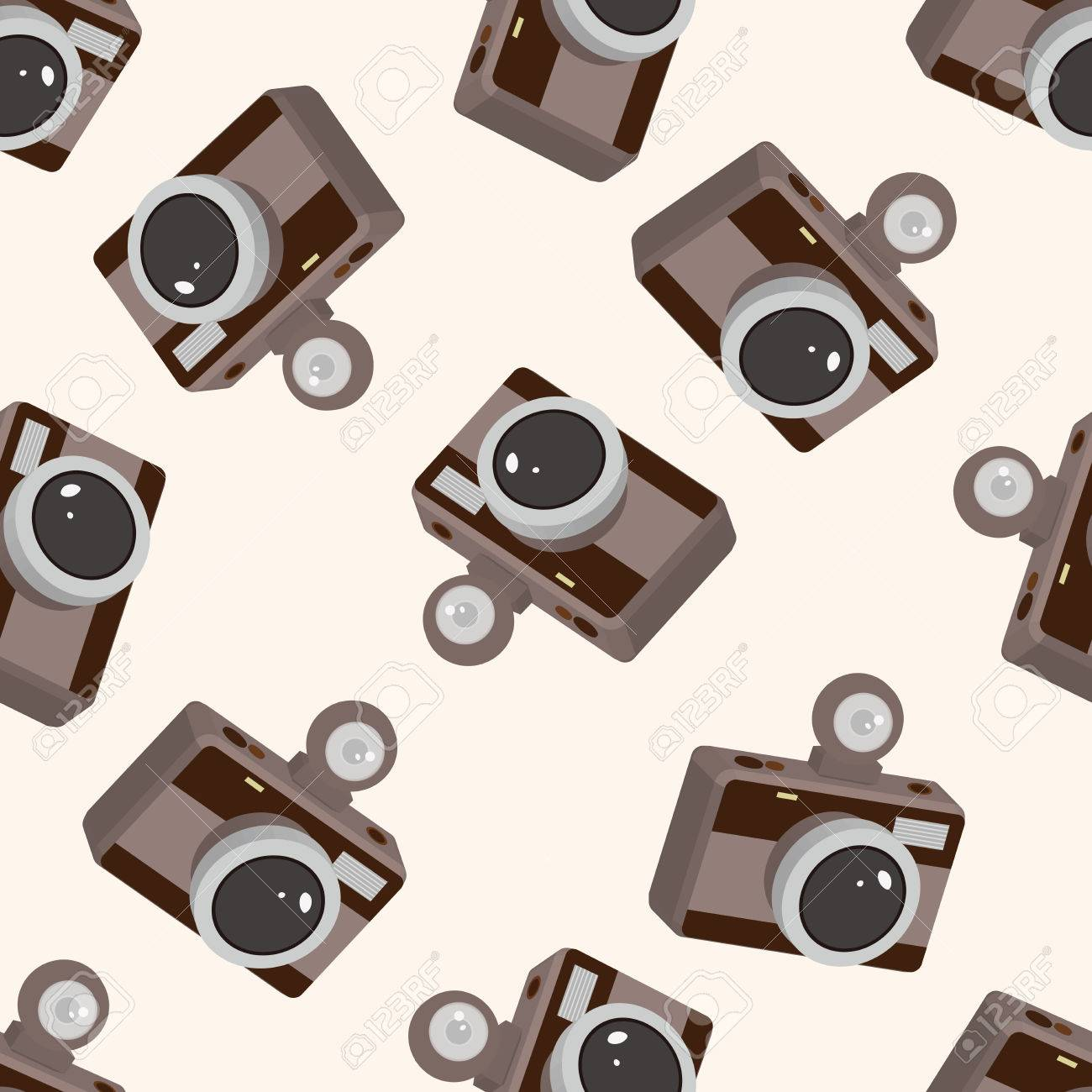 Camera Cartoon Seamless Pattern Background Stock Vector