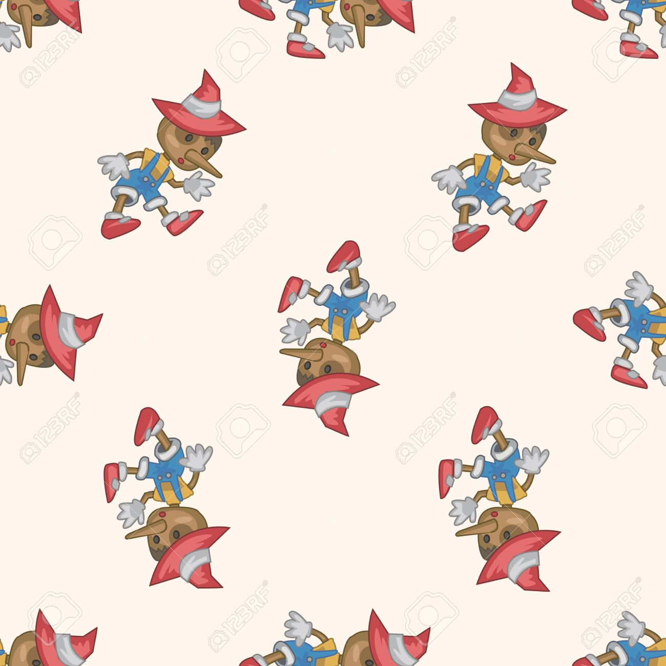 Pinocchio Cartoon Seamless Pattern Background Royalty Free