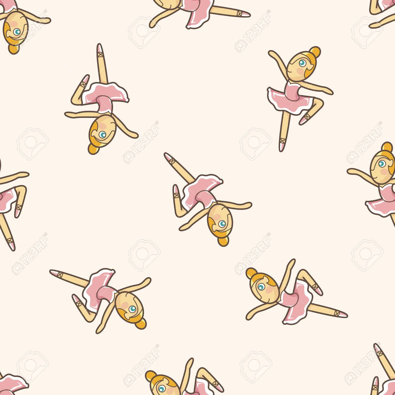 Seamless pattern of ballet dancers royalty free stock photography - Ballet Dancer Cartoon Seamless Pattern Background Stock Vector 39486803
