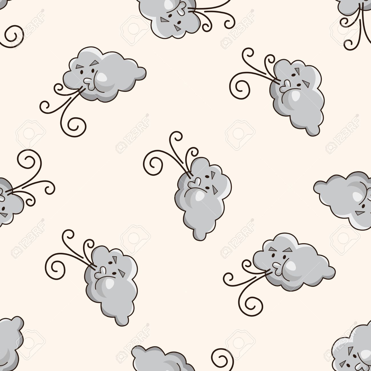 weather cloudy day cartoon seamless pattern background stock