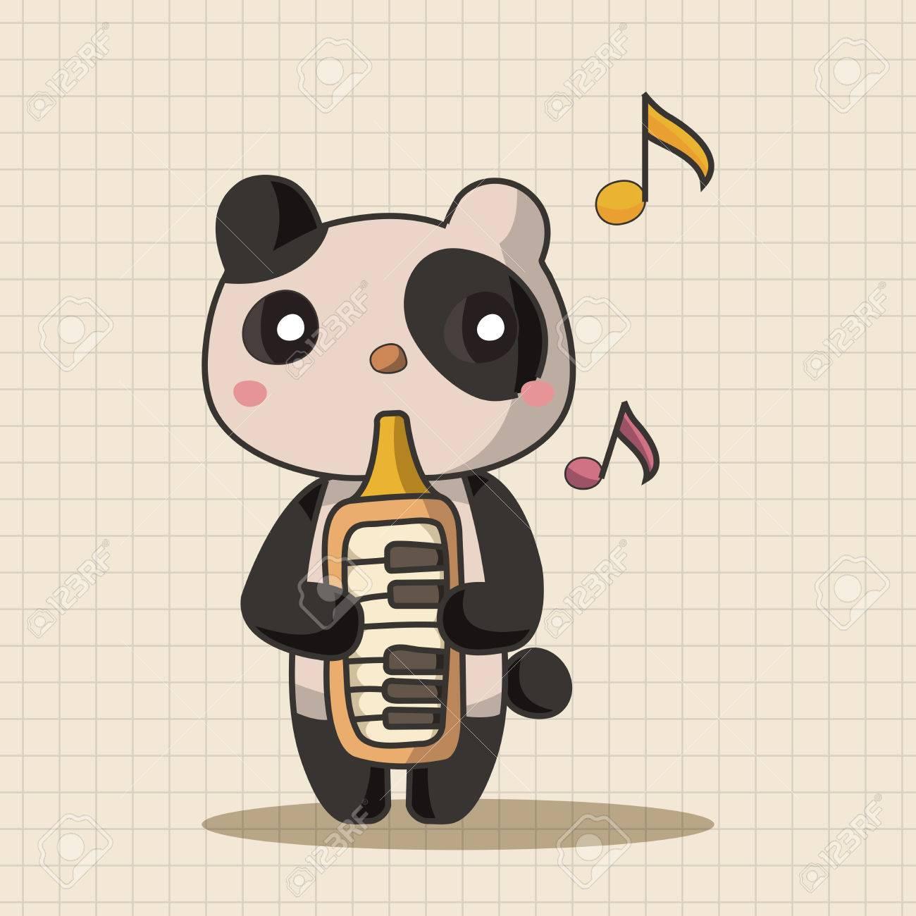 动物演奏各种乐器卡通主题元素