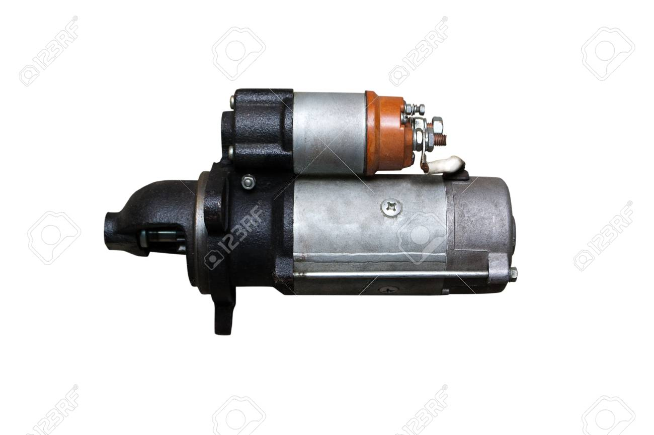 Electric Starter for a car with solenoid isolated on white background