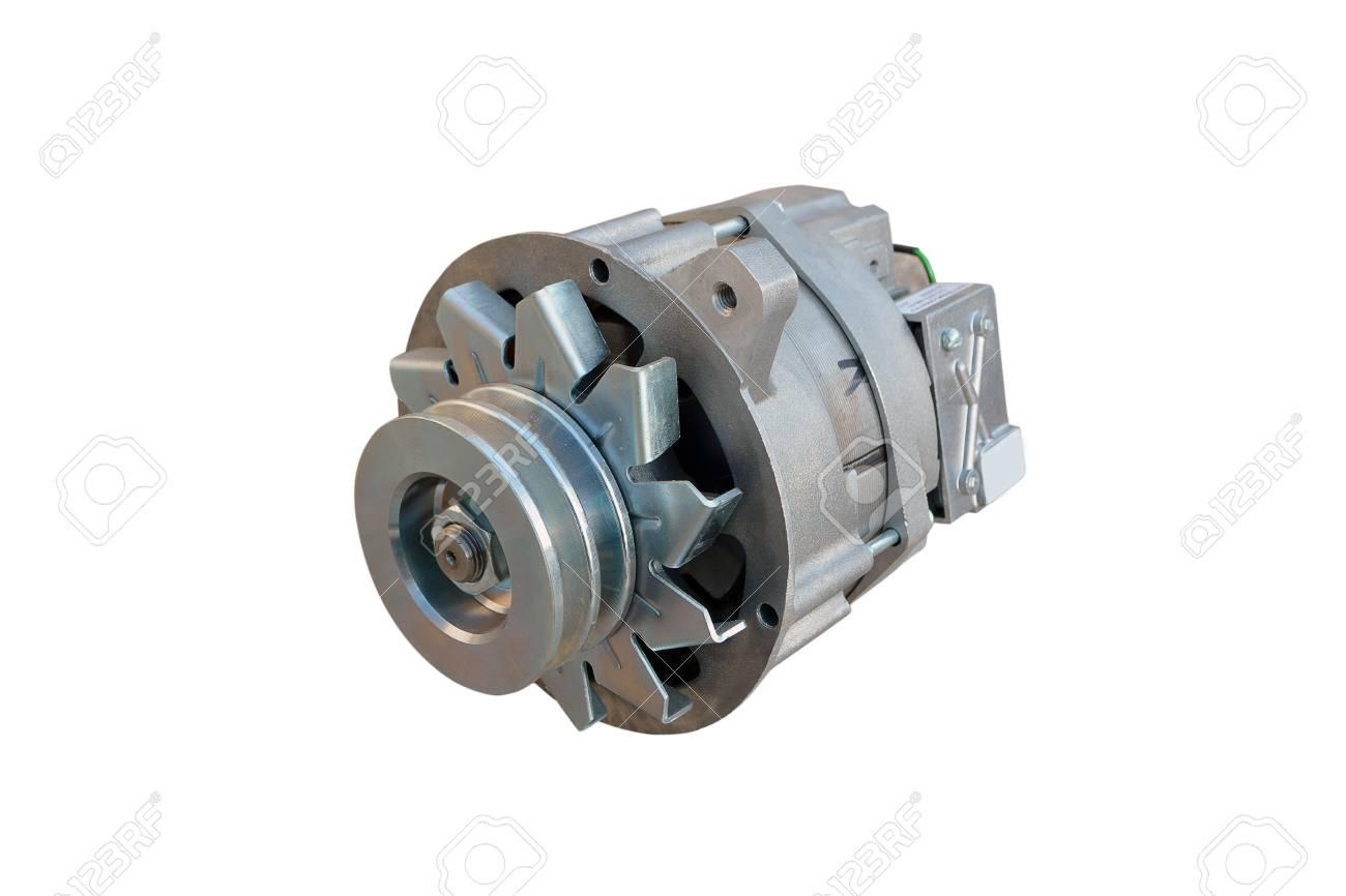 Car alternator isolated on white. - 111854984