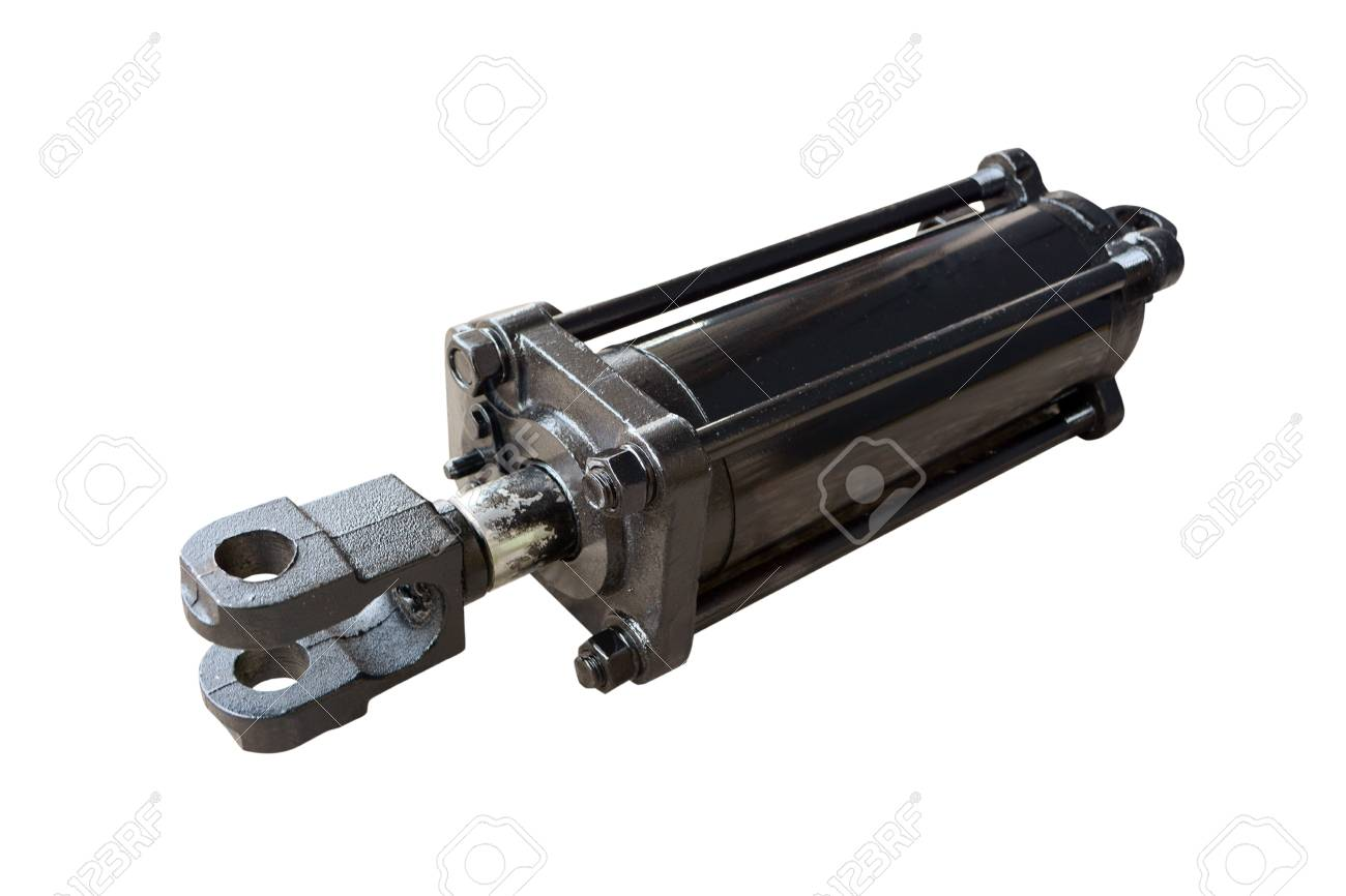 hydraulic cylinder of the tractor on isolated white background - 111856356