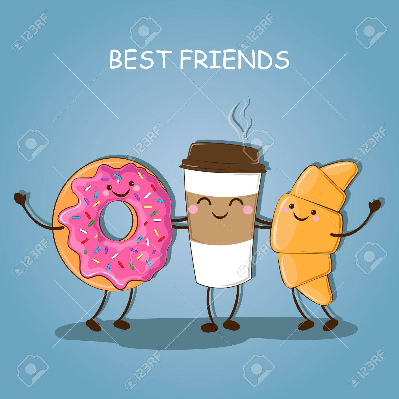 Breakfast Morning Best Friends Cute Picture Of A Coffee Donut