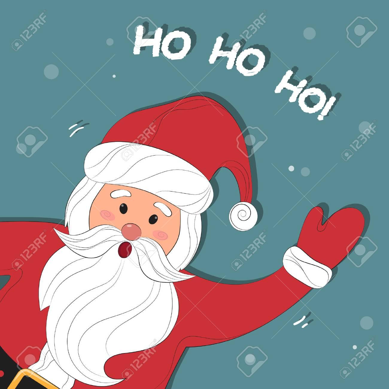 Ho Ho Ho Pere Noel Santa Claus Cartoon. Christmas Background With Santa Claus. Merry