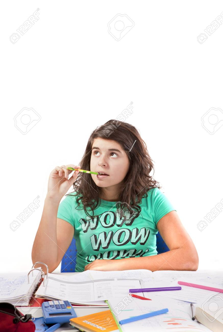 Young Teeenage Girls thinks about her Homework Stock Photo - 8910849