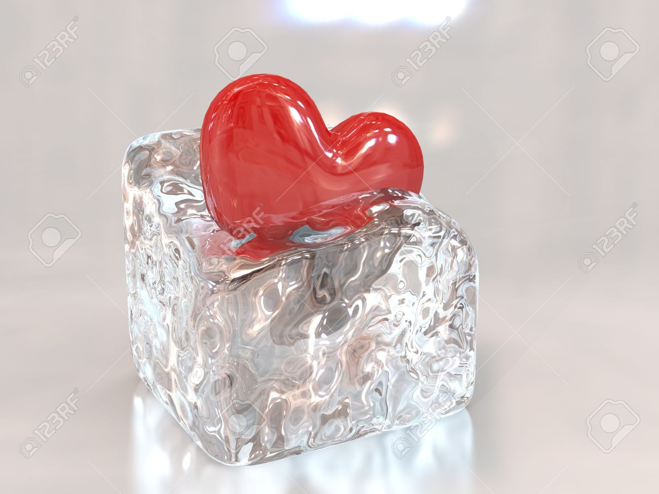 Red Heart In An Ice Cube Stock Photo   8811107