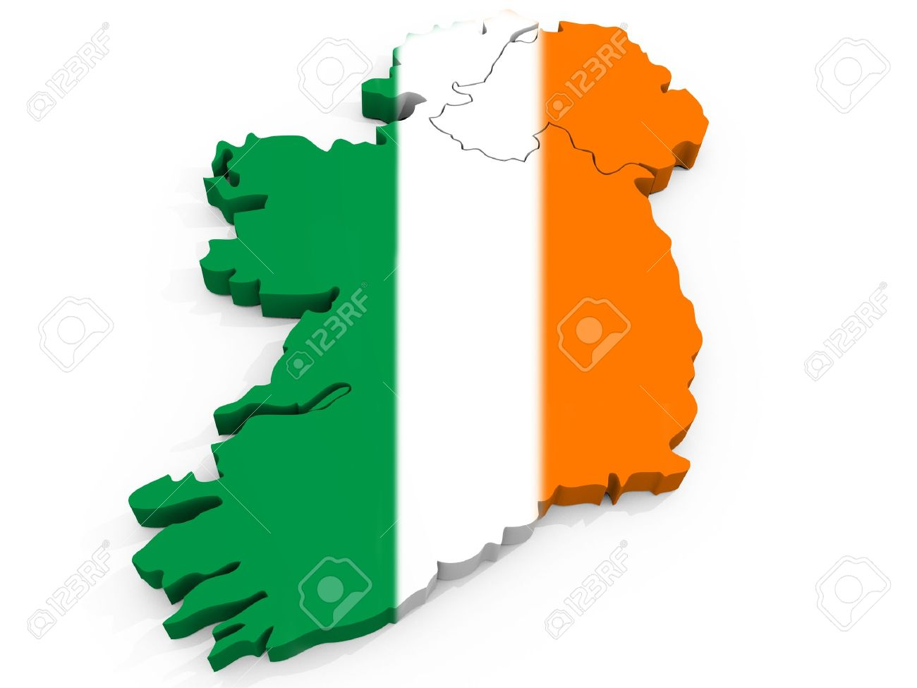 Map Of Ireland 3d.3d Map Of Ireland With Flag Republic Of Ireland