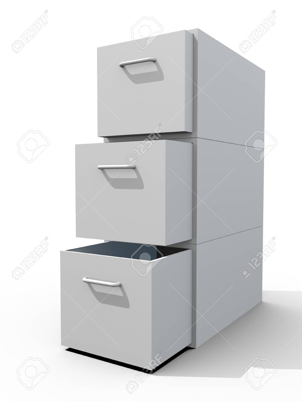file cabinet 3d on white floor Stock Photo - 10940951