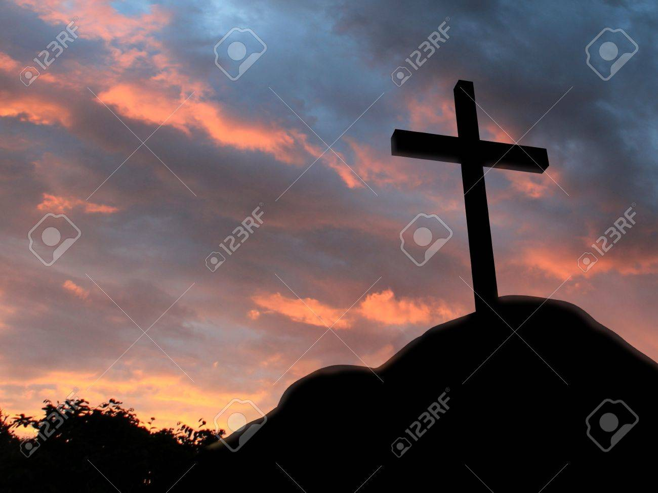 Cross on a hill with cloudy background Stock Photo - 10940952