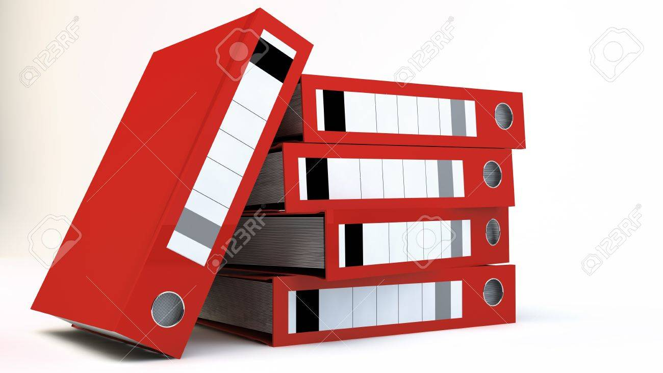 Stack of red File folders over white background Stock Photo - 12609360