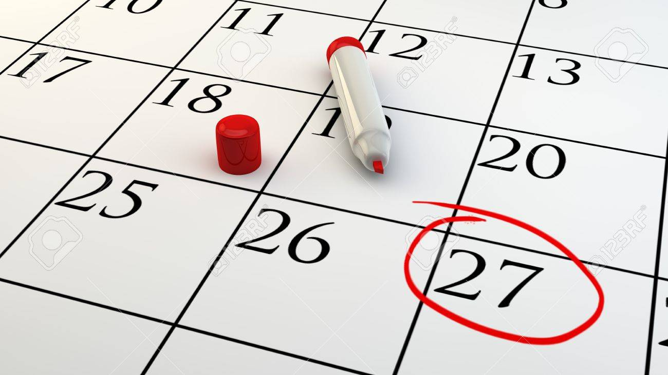 A Day Of Appointment Circled On Calendar Stock Photo, Picture And ...