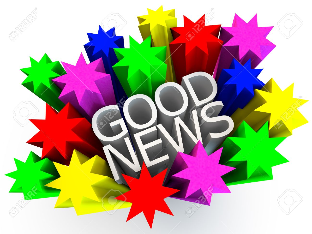 good news surrounded by colorful stars over white background stock